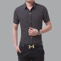 JIBOVILLE - Diamond Pattern Short-Sleeve Shirt