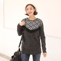 CLICK - Brushed-Fleece Fringed Pullover