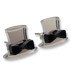 Sweet & Co. - Sweet Mirror Black Hatter Ribbon Stud Earrings
