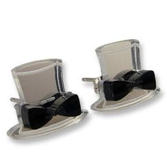 Sweet & Co. - Sweet Mirror Black Hatter Ribbon Stud Earrings