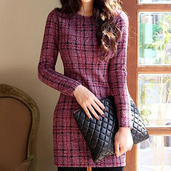 Dowisi - Long-Sleeve Plaid Dress