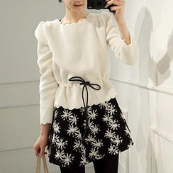 Dowisi - Set: Long-Sleeve Scallop-Hem Top + Sleeveless Patterned Dress