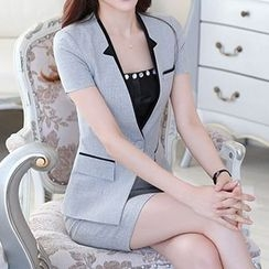 Caroe - Short-Sleeve Single Button Blazer / Set: Short-Sleeve Single Button Blazer + Skirt