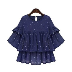 GRACI - 3/4-Sleeve Tiered Pleated Dotted Blouse