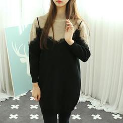 Dodostyle - Mock Two-Piece Knit Dress