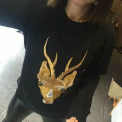 Tulander - Deer Embroidered Sweatshirt