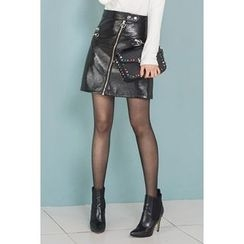 migunstyle - Zip-Detail Faux-Leather Skirt