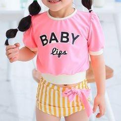 BOIE - 童裝: 字母短袖防曬衣 + 泳褲