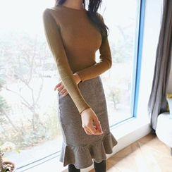 Hello sweety - Round-Neck Rib-Knit Top