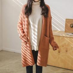 JUSTONE - Drop-Shoulder Open-Front Long Cardigan