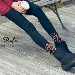 PUFII - Leopard-Print Fleece-Hem Leggings