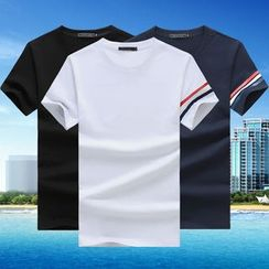 T for TOP - Contrast Trim Short-Sleeve Crewneck T-Shirt