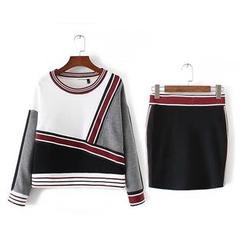 Amoura - Set: Striped Knit Pullover + Knit Skirt