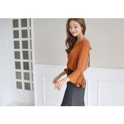 Hello sweety - Tie-Back Frill-Sleeve Top
