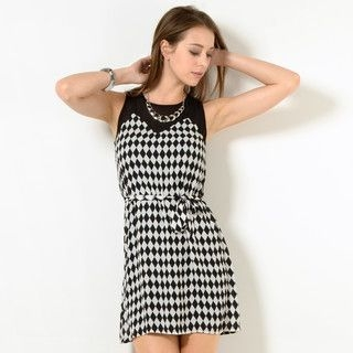 YesStyle Z - Argyle Print Sleeveless Dress