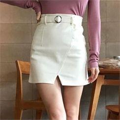 QNIGIRLS - Cutaway-Front Mini Skirt with Belt