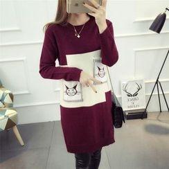 Emeline - Cat Print Color Block Long Sweater