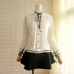 Cobblestone - Pleated Chiffon Blouse
