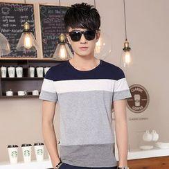 Walwa - Short-Sleeve Color Block T-Shirt