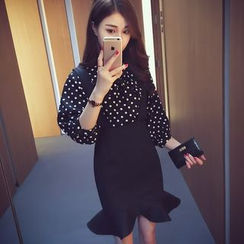 Cocofield - Set: Dotted Chiffon Shirt + Ruffle Hem Suspender Skirt