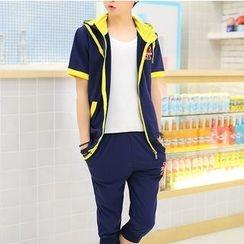 百高 - 套装: 短袖连帽外套 + 七分运动裤