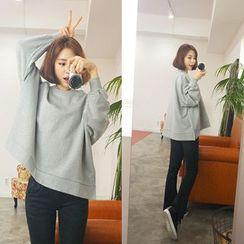 WITH IPUN - Round-Neck Loose-Fit Cotton Sweatshirt