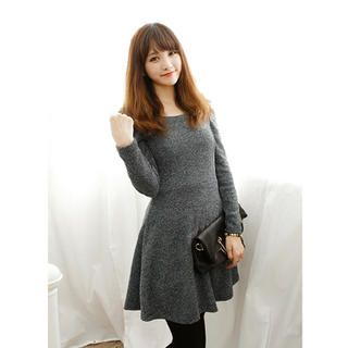 Dodostyle - Puff-Sleeve A-Line Dress