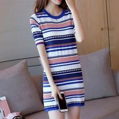 Bubbleknot - Stripe Short-Sleeve Knit Dress