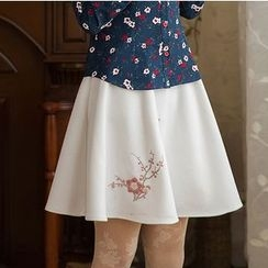 GU ZHI - Embroidered A-Line Skirt