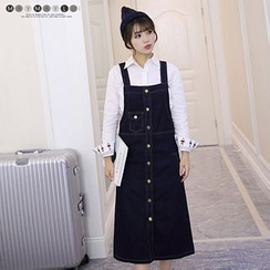 Maymaylu Dreams - Button-front Denim Pinafore