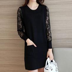 Bubbleknot - Lace Panel Long-Sleeve Knit Dress