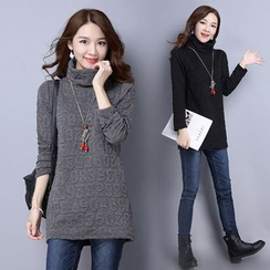 GLIT - Number Embossed Turtleneck Long Sleeve Tunic
