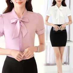 Pearlescent - Short-Sleeve Tie-Neck Shirt