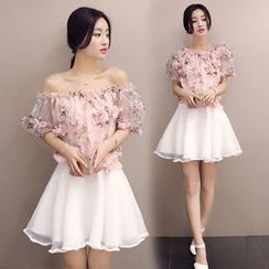 Ashlee - Set: Off-shoulder Floral Organza Top + Skirt