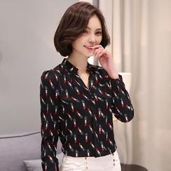伊之恋 - 口红印花立领雪纺衬衫