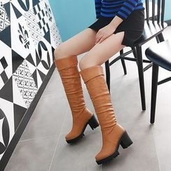 Pastel Pairs - Chunky Heel Tall Boots