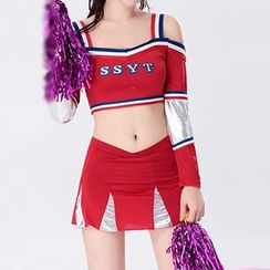 Cosgirl - Cutout Shoulder Long-Sleeve Cheerleader Party Costume