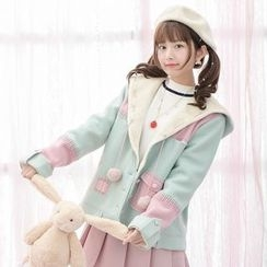 Moriville - Color Block Hooded Coat