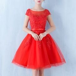 Luxury Style - Lace Appliqué Short Sleeve Mini Prom Dress