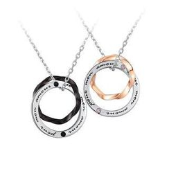 MBLife.com - Left Right Accessory - 925 Silver Interlocking Ring Necklace - Couple Set