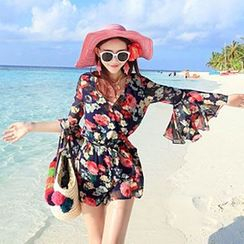 Sunset Hours - Bohemian Bell Sleeve Playsuit