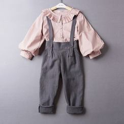 Kidora - Kids Set: Pleated Collar Long Sleeve Shirt + Suspender Pants
