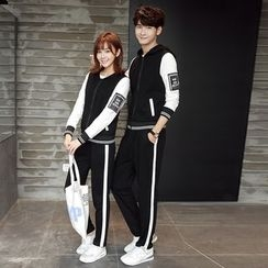 INUS - Couple Matching Set: Hooded Zip Jacket + Sweatpants