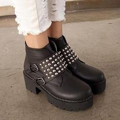 Mancienne - Studded Chunky-Heel Ankle Boots