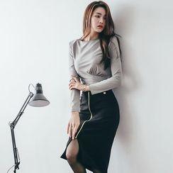 Clospace - Set: Long-Sleeve Crop Top + Zip Front Pencil Skirt
