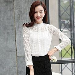 Romantica - Long-Sleeve Perforated Lace Top
