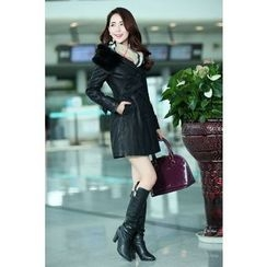 ARDAN - Furry Trim Hooded Faux Leather Trench Coat