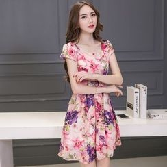 Crista - Floral Chiffon Dress