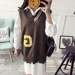 Qimi - Lettering Striped Long Knit Vest