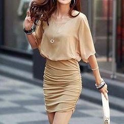 Jolly Club - Dolman-Sleeve Shirred Chiffon Dress